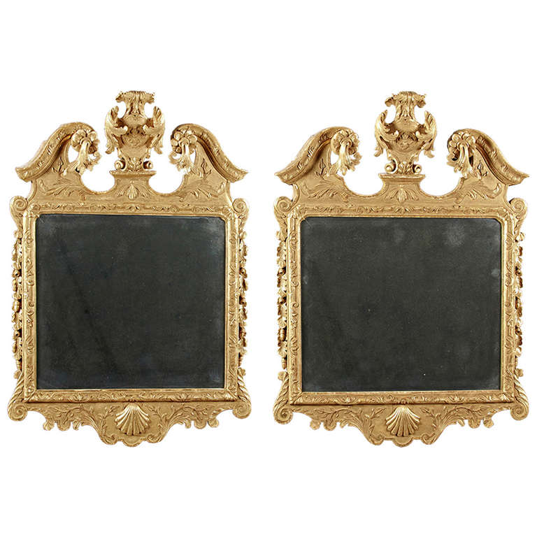 Fine and unusual pair of george ii giltwood mirrors at 1stdibs - Unusual large wall mirrors ...