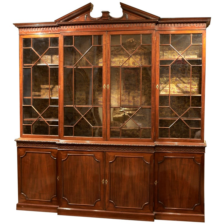 An 18th C. English Chippendale Breakfront Bookcase China Cabinet at 1stdibs