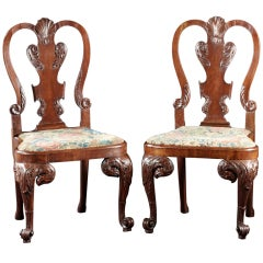 A Rare Pair of George II Eagle and Shell Carved Walnut Side Chairs