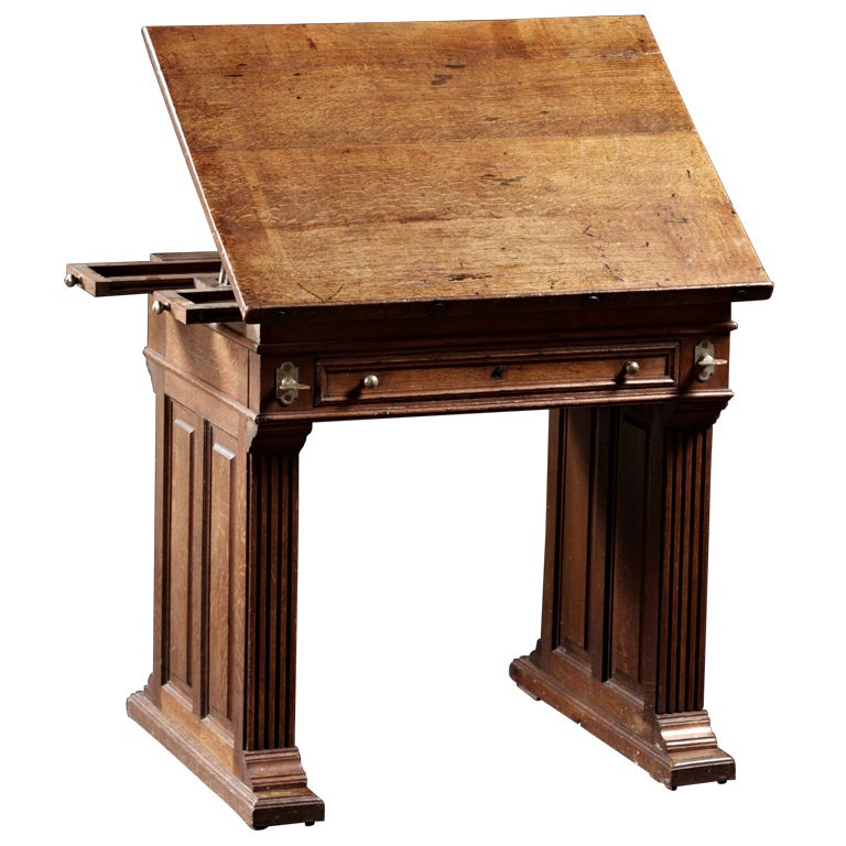 an arts and crafts period oak drafting table with adjustable slope at 1stdibs