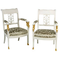 Pair of Swedish Gustavian Painted and Parcel-Gilt Armchairs