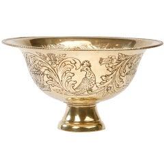 Large Dutch Brass Repousse Bowl