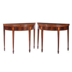 Pair of George III Demilune Card Tables