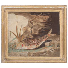 19th Century Wool-Work Picture of a Landed Trout