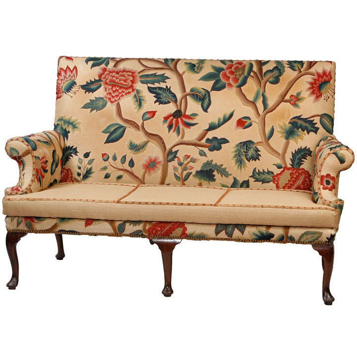 Queen Anne Walnut Settee Covered in Antique Crewl Work