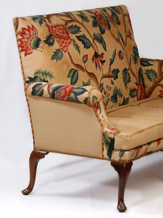 Queen Anne Walnut Settee Covered in Antique Crewl Work image 2