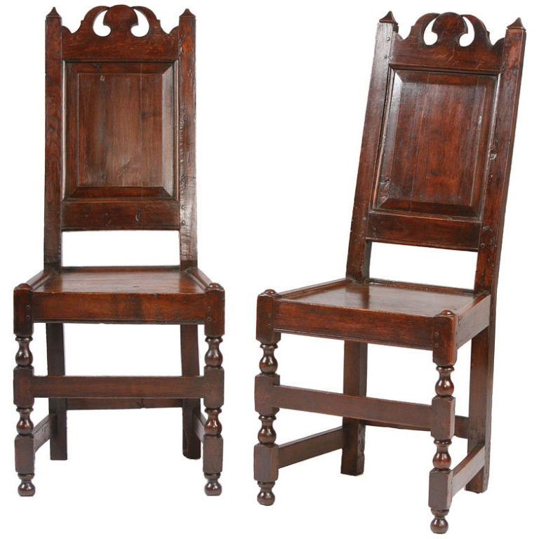 Pair of English 17th century side chairs