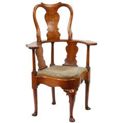 English Walnut Queen Anne High Backed Corner Chair