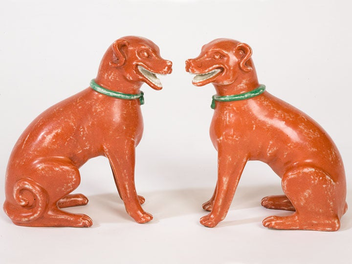 Chinese Export Pair Of Chinese-Export Seated Dogs For Sale