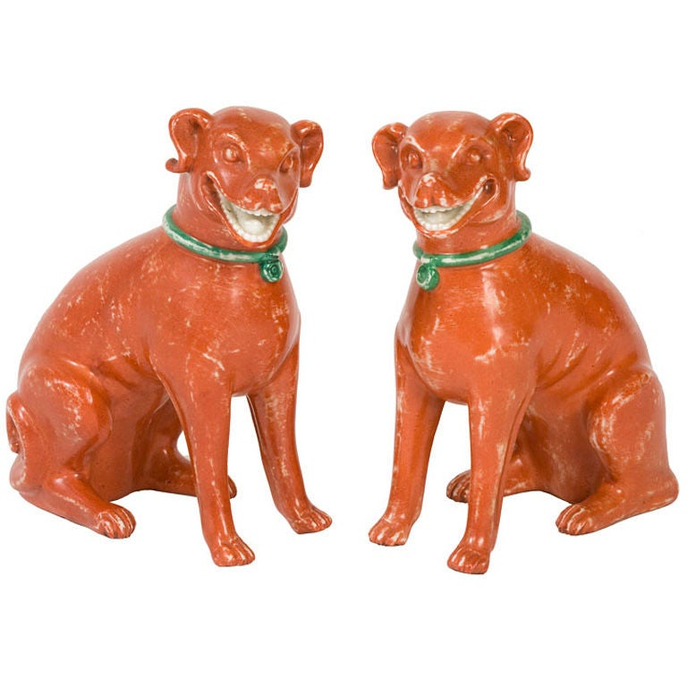 Pair Of Chinese-Export Seated Dogs For Sale