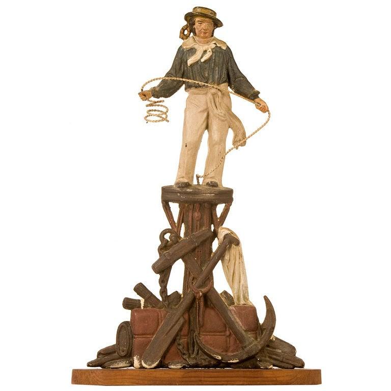 Cast Iron 19th Century Painted Figure of Jack Tarr
