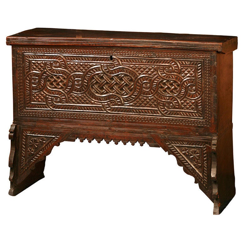Middle Eastern Carved Coffer On A Stand At 1stdibs