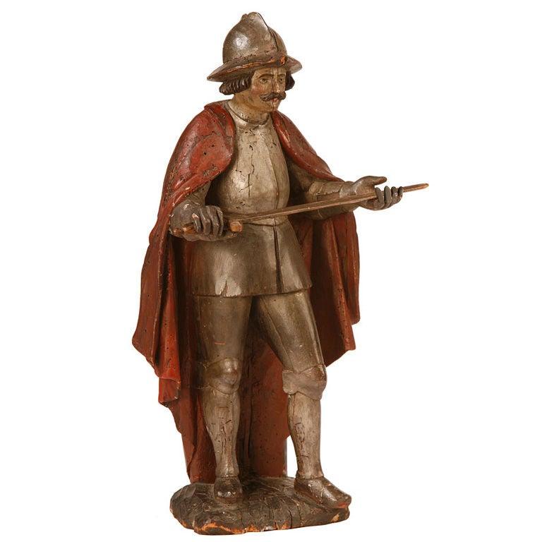 Spanish Baroque Carved Figure of a Conquistador 1