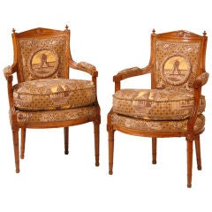 Pair of French Directoire Armchairs