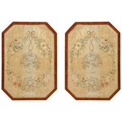 Pair of silk needlework pictures of the 2 Hemispheres