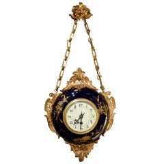 French Porcelain and Ormolu Wall Clock
