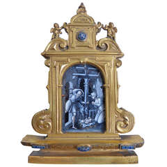 Early 18th Century Limoges and Gilt Bronze Travel Altarpiece