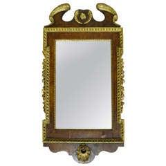 English George I Parcel Gilt and Walnut Mirror
