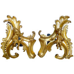 Pair of French Regence Chenets or Andirons