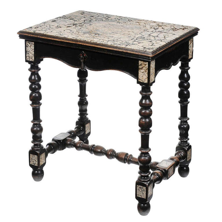 Petite 19th century Louis XIII style ebonized Marble-Top Center Table