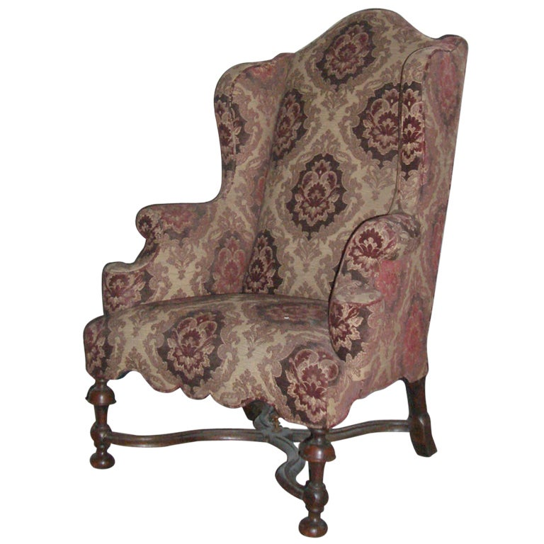 English Early 18th Century William And Mary Wingback Chair