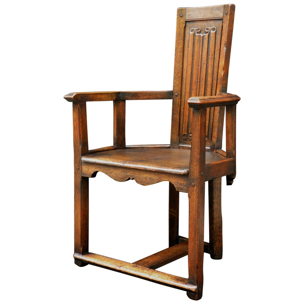 Gothic style linenfold Caquetoire Armchair