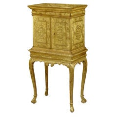 Gilt Jewelry Cabinet on Stand with Fitted Interior