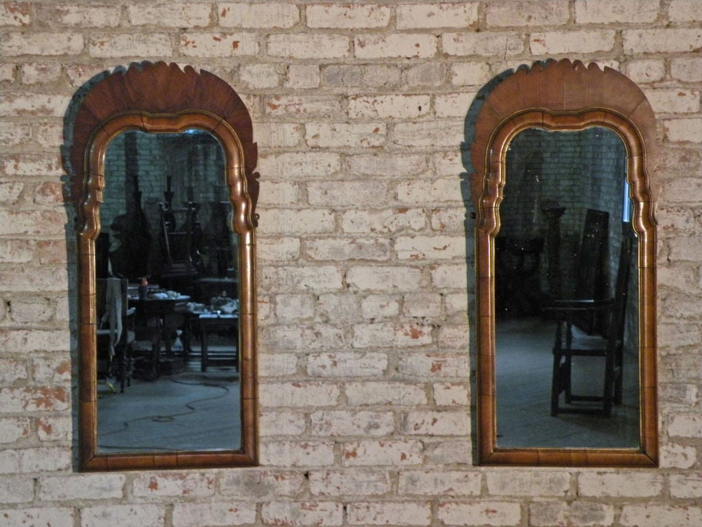 Pair of Small English Queen Anne Mirrors image 2