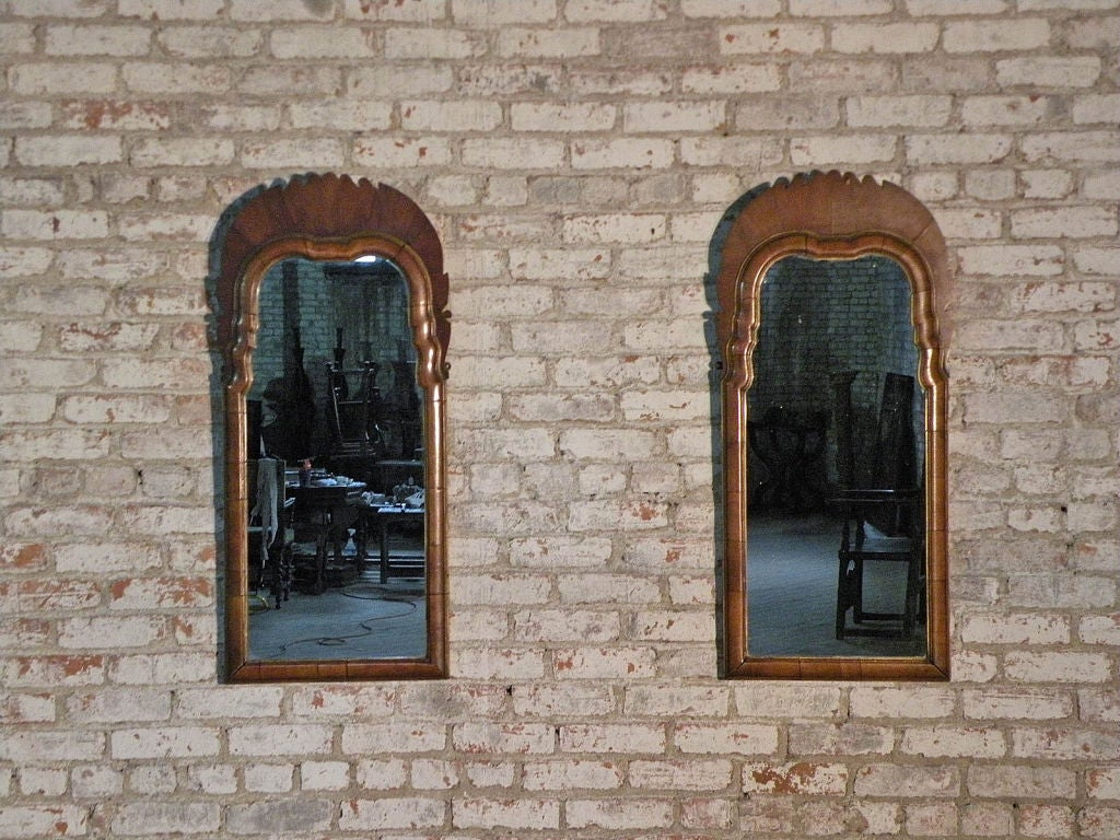 Pair of Small English Queen Anne Mirrors 3