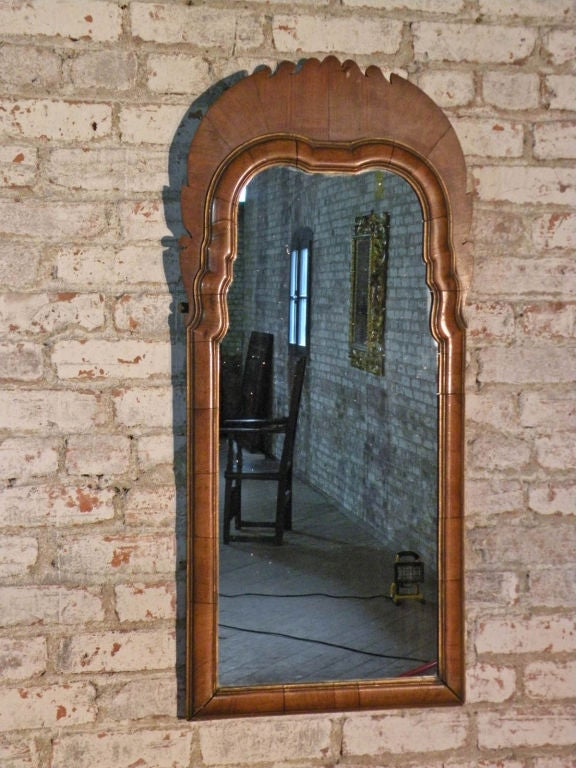 Pair of Small English Queen Anne Mirrors image 5
