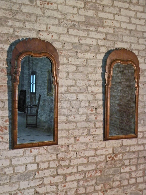 Pair of Small English Queen Anne Mirrors 6