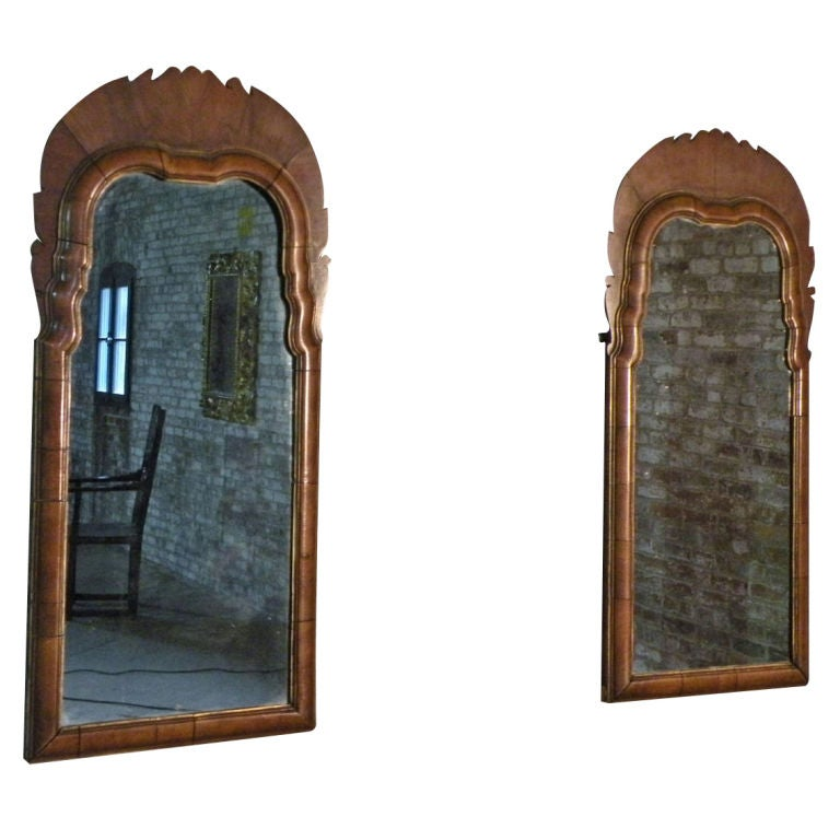 Pair of Small English Queen Anne Mirrors 1