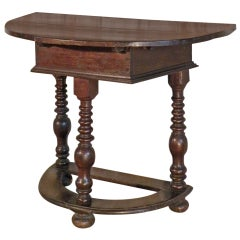 German rustic 18th century baroque demi-lune console table