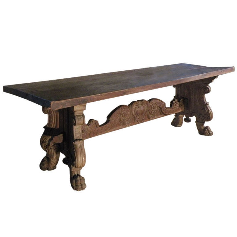 Italian Renaissance Style Refectory Table For Sale