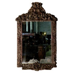 Large Franco-Flemish Baroque Late 17th Century Carved Walnut Mirror