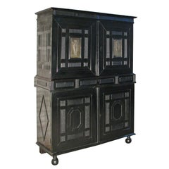 French late 17th century Louis XIV Ebonized Cabinet with Fitted Interior