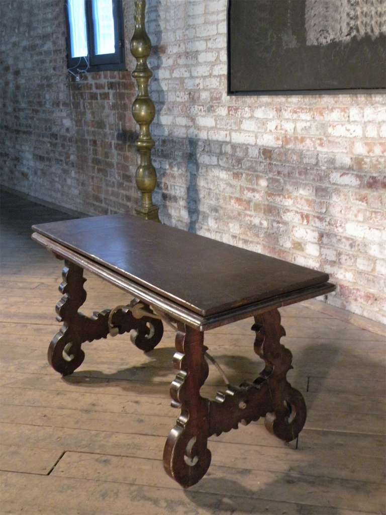 Wrought Iron Spanish Baroque 17th century walnut Flip-Bench or Low Table For Sale