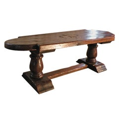 Massive 17th Century French Elm and Oak Trestle Table