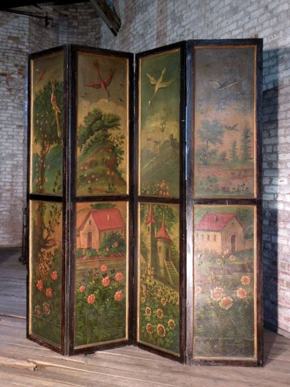 Painted Four Panel Floor Screen For Sale At 1stdibs