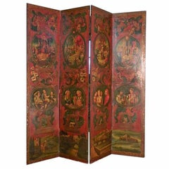 Painted Folk Art Four-Panel Floor Screen