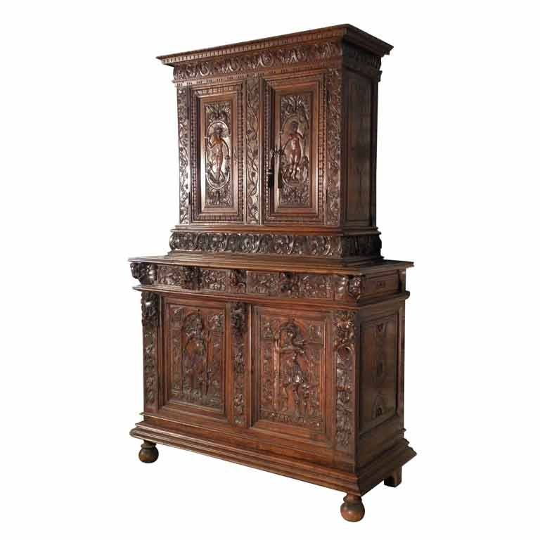 French Late 16th Century Renaissance Deux Corps Cabinet For Sale