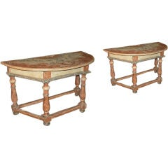 Pair of Italian 18th century Baroque Painted Demilune Console Tables