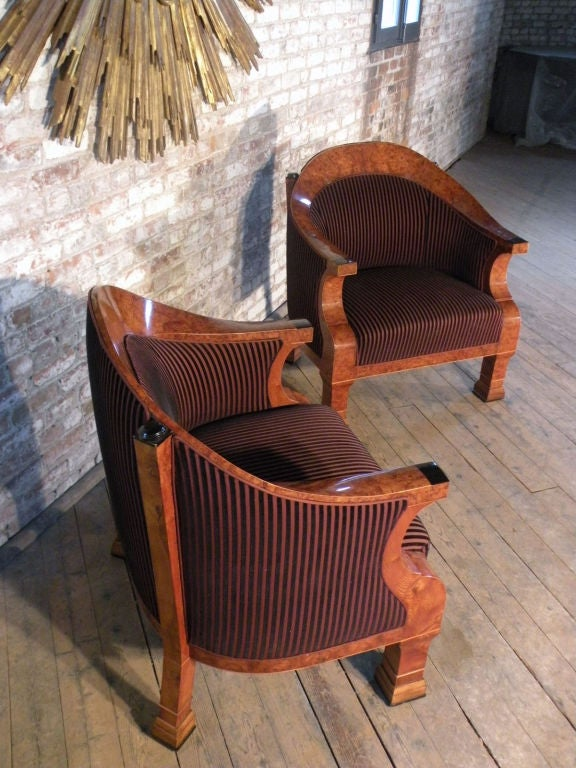 Pair of 19th century oversized Biedermeier Bergeres For Sale 1
