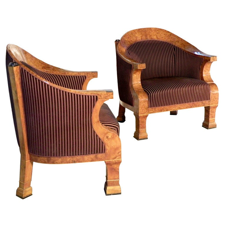 Pair of 19th century oversized Biedermeier Bergeres