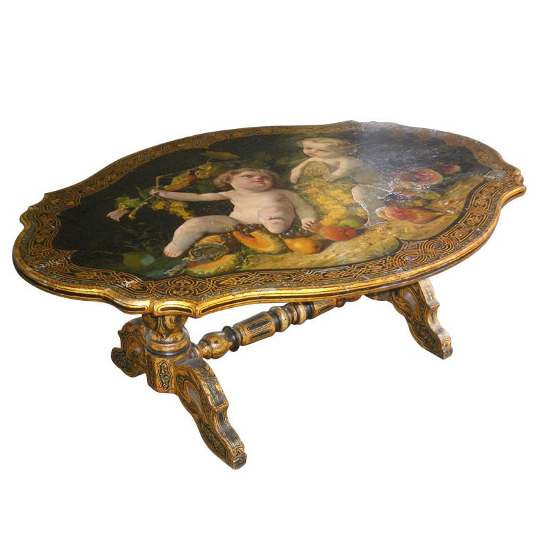 Italian Ottoman Coffee Table: Italian 19th Century Painted Low Coffee Table For Sale At