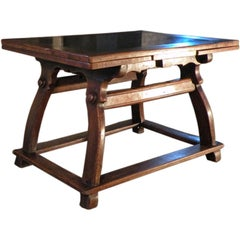 17th century Swiss Stone Inlaid Center /  Draw-Leaf extension Table