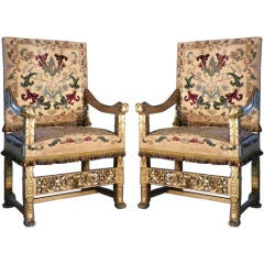 Pair of late 19th century French Gilt Armchairs by Eugene Grasset