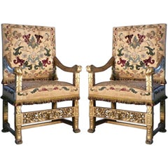 Pair of late 19th century French Gilt Armchairs designed by Eugene Grasset