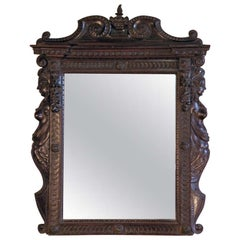 Italian carved walnut 19th century Renaissance style Mirror