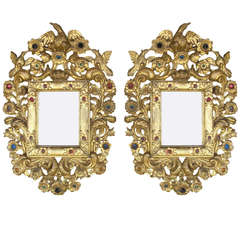 Pair of Spanish Colonial 18th century gilt and jeweled Mirrors